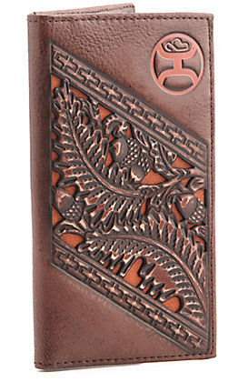 Hooey Rustic Mahogany Brown with Tooling and Inlay Checkbook Rodeo Wallet