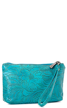 Justin Turquoise with Tooling Cosmetic Bag