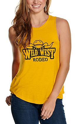 Double Zero Women's Gold Wild West Rodeo Sleeveless Tank Top