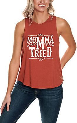 Double Zero Women's Rust with White Momma Tried Sleeveless Tank Top