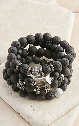 Pink Panache Black Ceramic Lava with Crystals 5 Piece Stretch Bracelets