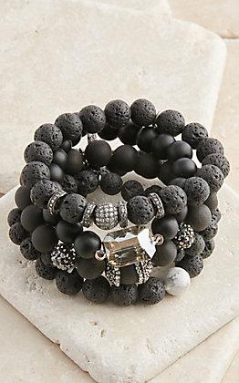 Pink Panache Black Ceramic Lava with Crystals 5 Piece Stretch Bracelets