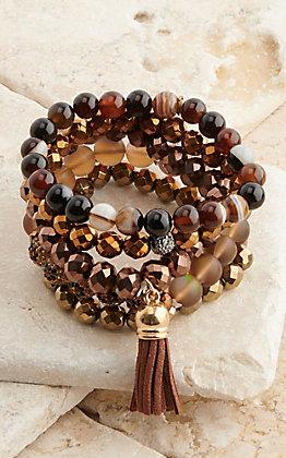 Pink Panache Multi Bronze Beads 5 Piece Stretch Bracelets