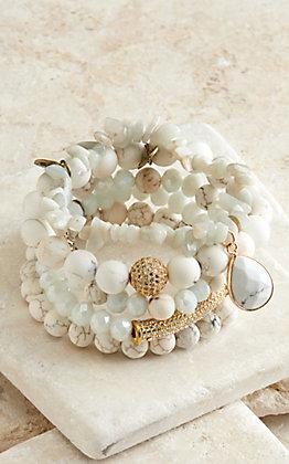 Pink Panache Multi White Matte Beads 5 Piece Stretch Bracelets