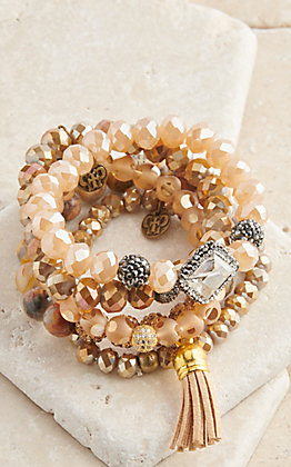 Pink Panache Multi Champagne Beads with Crystals 5 Piece Stretch Bracelets