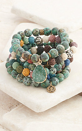 Pink Panache Multi-Teal Ceramic Lava with Druzy 5 Piece Stretch Bracelets