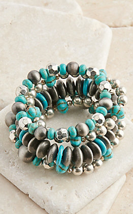 Pink Panache Burnished Silver and Turquoise 5 Piece Stretch Bracelets