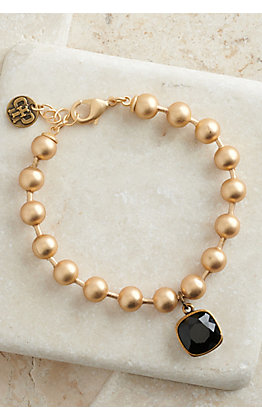 Pink Panache Matte Gold Ball Chain with Bronze Pendant and Black Stone Bracelet