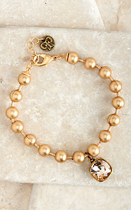 Pink Panache Matte Gold Ball Chain with Bronze Pendant and Champagne Stone Bracelet