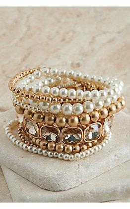Pink Panache Matte Gold, Pearl and Rhinestone 9 Piece Stretch Bracelets