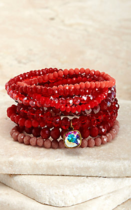 Pink Panache Multi Red Beads with Iridescent Pendant 9 Piece Stretch Bracelets