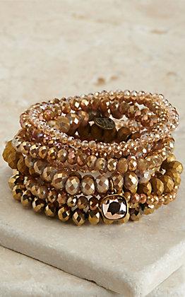 Pink Panache Multi Gold Beads with Rose Gold Pendant 9 Piece Stretch Bracelets