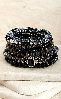 Pink Panache Multi Black Beads with Black Pendant 9 Piece Stretch Bracelets