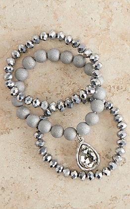 Pink Panache Silver Cut Beads with Crystal Teardrop Three Bracelet Set
