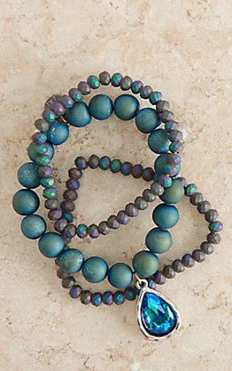 Pink Panache Deep Blue Druzy Beads and Silver Peacock Stone Teardrop Stretch Bracelet Set