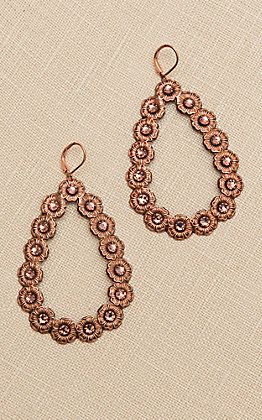 Pink Panache Rose Gold Teardrop with Rose Crystals Earrings