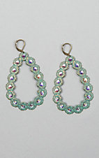Pink Panache Turquoise Mini Oval Crystals Open Teardrop Earrings
