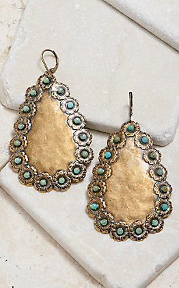 Pink Panache Bronze Hammered Teardrop With Turquoise Stone Earrings