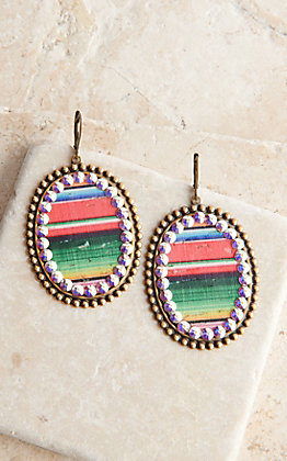 Pink Panache Bronze Medium Oval with Serape Inlay and Crystals Dangle Earrings