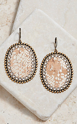 Pink Panache Gold Python With Crystal Earrings