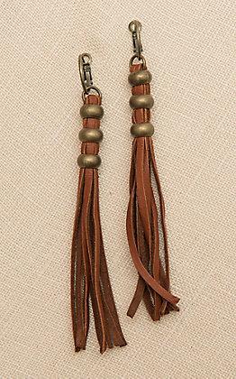 Pink Panache Saddle Tan Leather Tassel Hoop Earrings
