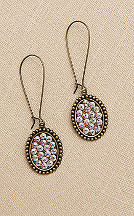 Pink Panache Bronze Small Oval with Crystals Threader Earrings