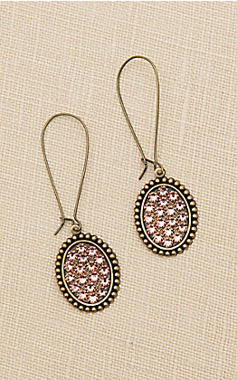 Pink Panache Bronze Small Oval with Rose Crystals Threader Earrings