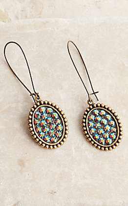 Pink Panache Bronze Mini Oval with Blue Crystals Dangle Earrings