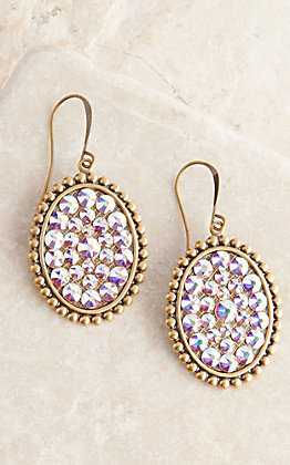 Pink Panache Bronze Small Oval with Crystals Dangle Earrings