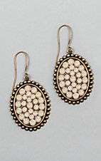 Pink Panache Silver with Crystal Inlay Oval Earrings