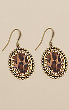 Pink Panache Bronze Small Oval Leopard Earrings