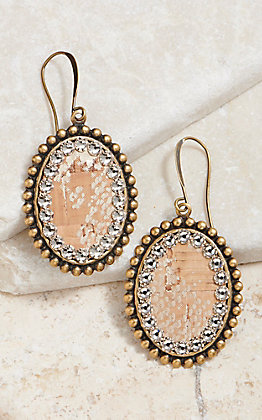 Pink Panache Oval Gold Python With Crystal Earrings
