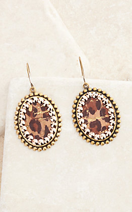 Pink Panache Bronze with Leopard Inlay and Crystals Small Oval Earrings