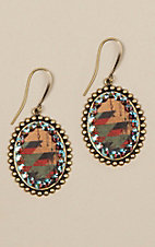 Pink Panache Bronze with Natural Aztec Print Inlay and Crystals Oval Earrings
