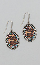 Pink Panache Silver with Leopard Inlay and Crystals Oval Earrings