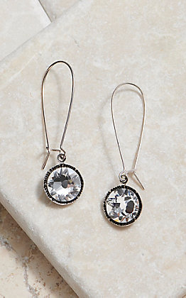 Pink Panache Silver Clear Crystal Drop Wire Earrings
