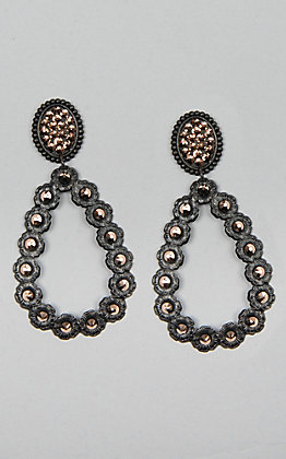 Pink Panache Matte Black Mini Oval with Rose Gold Crystals Open Teardrop Earrings