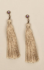 Pink Panache Tan Silk and Crystal Tassel Earrings