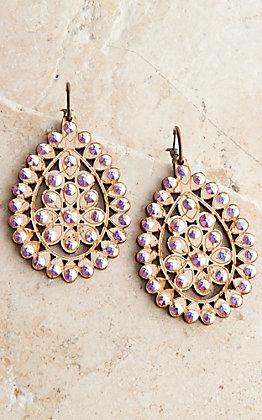 Pink Panache White Crackle Wood with Crystals Santa Fe Teardrop Earrings