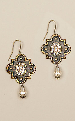 Pink Panache Women's Bronze and Crystal Teardrop Earrings