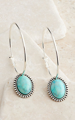 Pink Panache Silver Turquoise Stone Hoop Earrings