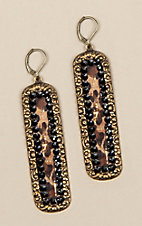 Pink Panache Bronze Black Crystal and Leopard Inlay Earrings