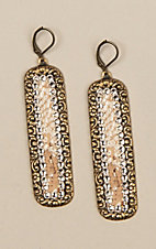 Pink Panache Bronze and Python Inlay Earrings