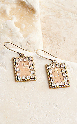 Pink Panache Bronze Mini Rectangle with Cork and Crystals Earrings
