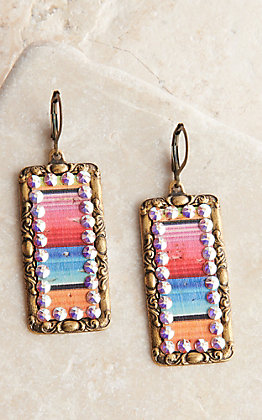 Pink Panache Bronze Medium Rectangle with Serape Inlay and Crystals Dangle Earrings