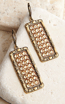 Pink Panache Bronze Medium Rectangle with Bronze Crystals Earrings
