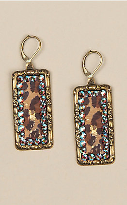 Pink Panache Bronze Rectangle with Leopard Inlay Earrings