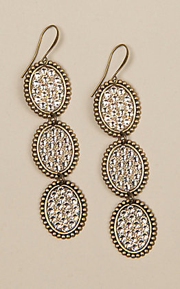 Pink Panache Bronze Triple Crystal Oval Earrings