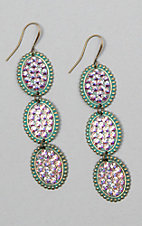 Pink Panache Turquoise Triple Crystal Oval Earrings