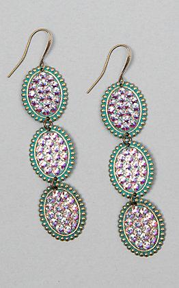 Pink Panache Turquoise Triple Crystal Oval Earrings